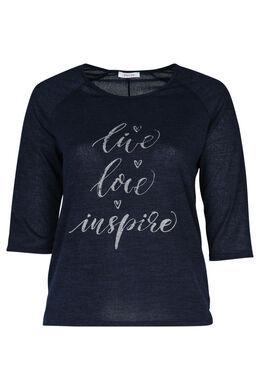 T-shirt met print 'Live, love, inspire', Marineblauw