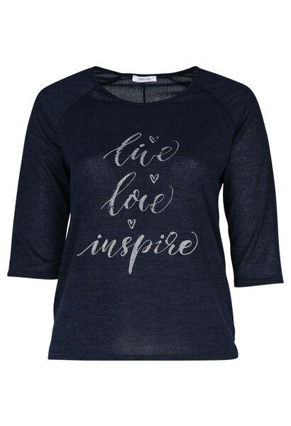 T-shirt met print 'Live, love, inspire' - Marineblauw
