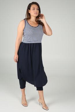 Lange jurk in twee stoffen, Marineblauw