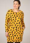 Sweaterjurk met luipaardprint, Oker