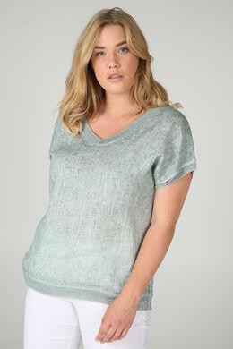 T-shirt linnen vooraan tricot achteraan, Blauwgroen