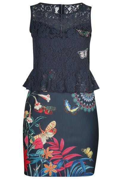 Kanten jurk bedrukt met bloemen en vlinders - Marineblauw