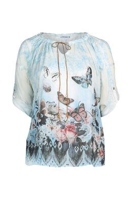Bloes bedrukt met vlinders, Lichtblauw
