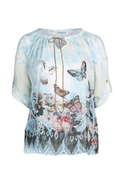 Bloes bedrukt met vlinders - Lichtblauw
