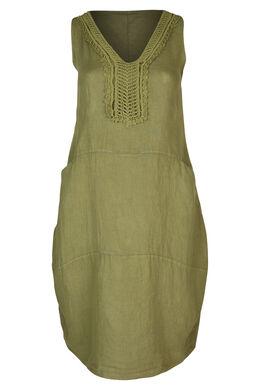Middenlange jurk in linnen, Olijfgroen