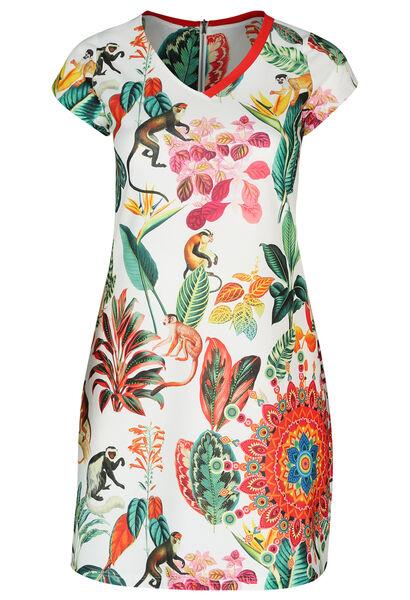 Jurk met tropische print en apen - Multicolor
