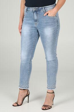 Kuitlange jeans met kraaltjes, Denim