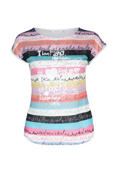 T-shirt in bedrukt linnen - Wit