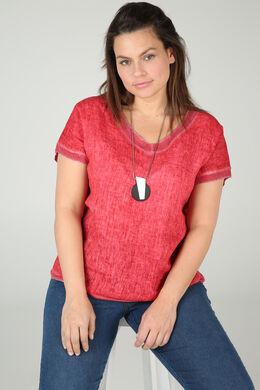T-shirt linnen vooraan tricot achteraan, Oranje