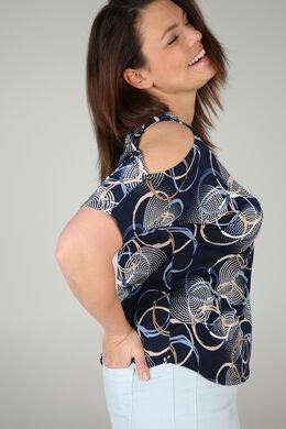 T-shirt met open rug en mouwen, Marineblauw