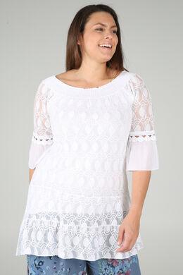 Tuniek t-shirt in geborduurde netstof en crêpe, Wit