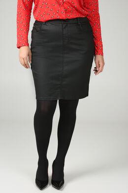 Korte rok in gecoat katoen, Zwart