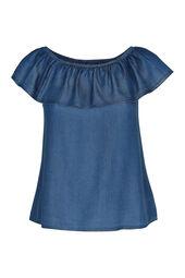 T-shirt in jeanslyocell met elastische hals