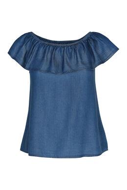 T-shirt in jeanslyocell met elastische hals, Denim