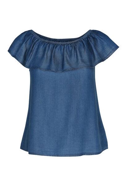 T-shirt in jeanslyocell met elastische hals - Denim