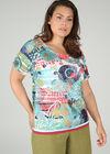 T-shirt in bedrukte kant, Multicolor