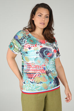 T-shirt in bedrukte kant, Multicolor
