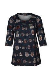 T-shirttuniek in warm tricot met uilenprint