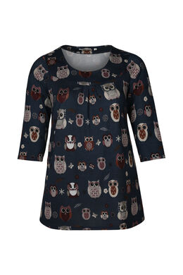 T-shirttuniek in warm tricot met uilenprint, Marineblauw