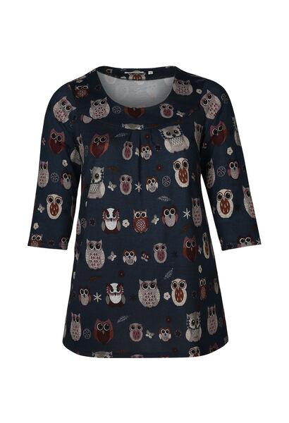 T-shirttuniek in warm tricot met uilenprint - Marineblauw