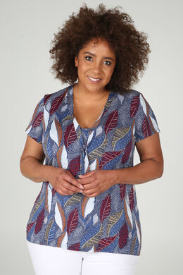 T-shirt in tricot met strikkraag, Indigo