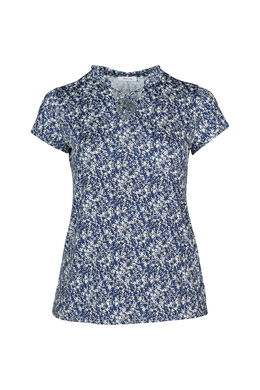 T-shirt in koel tricot met bloemetjes, Indigo