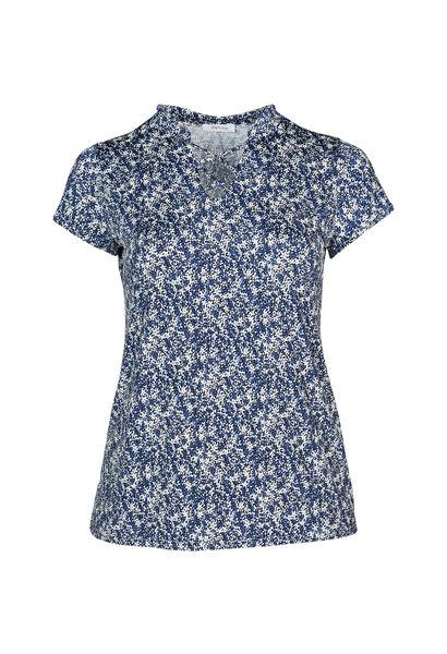 T-shirt in koel tricot met bloemetjes - Indigo