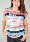 T-shirt in bedrukt linnen, Wit