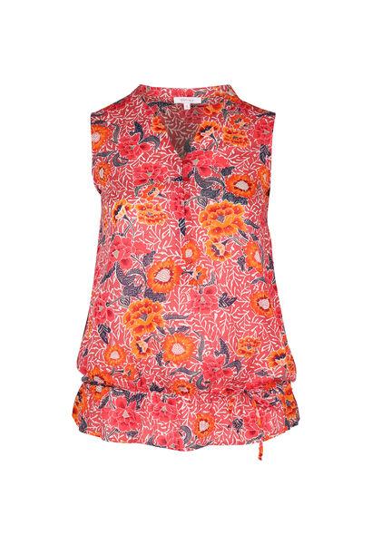 Nauwsluitende bloes met bloemmotieven - Oranje