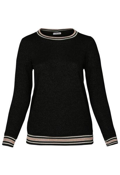 Trui met sportswear-stroken - Zwart