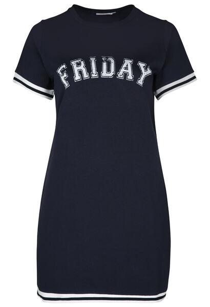 Sportieve jurk met opdruk 'Friday' - Marineblauw