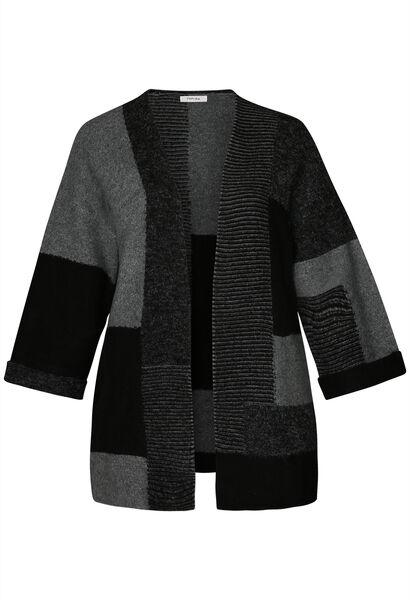 Lange, colour-blocked cardigan - Zwart