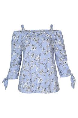 Gestreepte blouse met bloemen, Lichtblauw