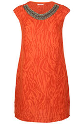 Linnen jurk met luipaardprint