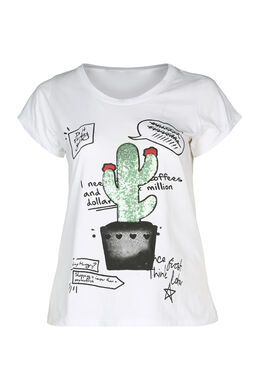 T-shirt met een cactus met lovertjes, Wit