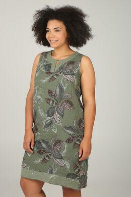 3c7628b4839121 Linnen jurk met etnische bloemenprint