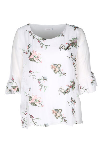 Bloes met geborduurde bloemen - Wit