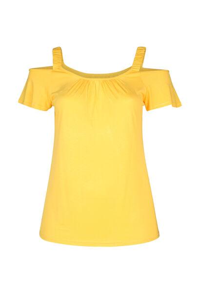 T-shirt met elastische bandjes - Oker