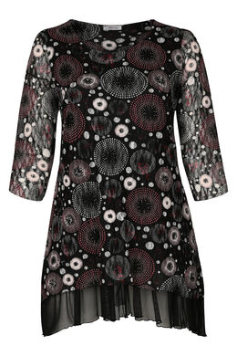 Tuniekshirt met een bedrukking van rozetten, Zwart