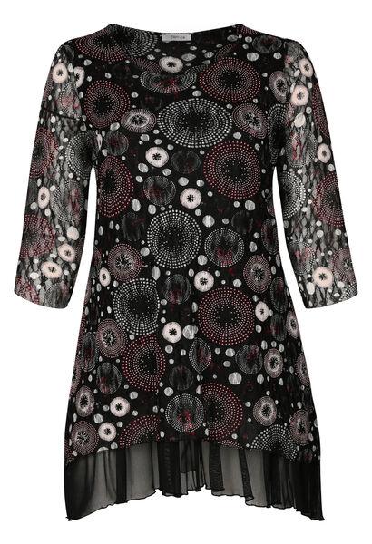 Tuniekshirt met een bedrukking van rozetten - Zwart
