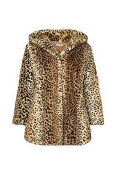 Mantel in imitatiebont met luipaardprint