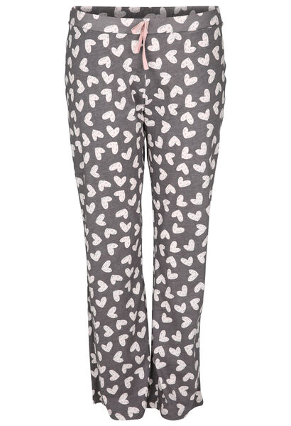 Pyjamabroek met hartjes - Grijs