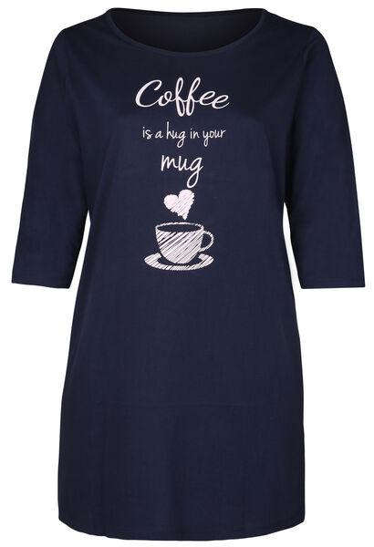 Nachtkleed 'coffee is a hug in your mug' - Marineblauw