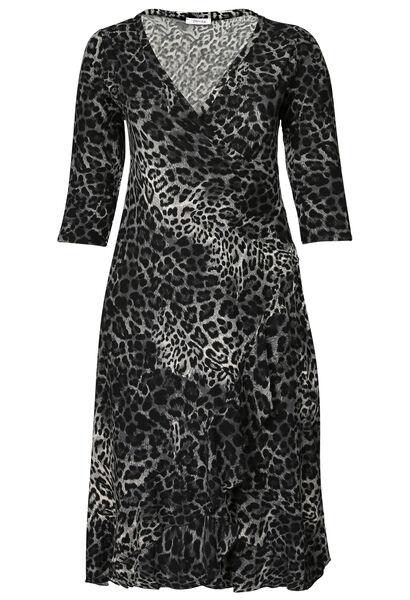 Lange jurk met luipaardprint - Antraciet