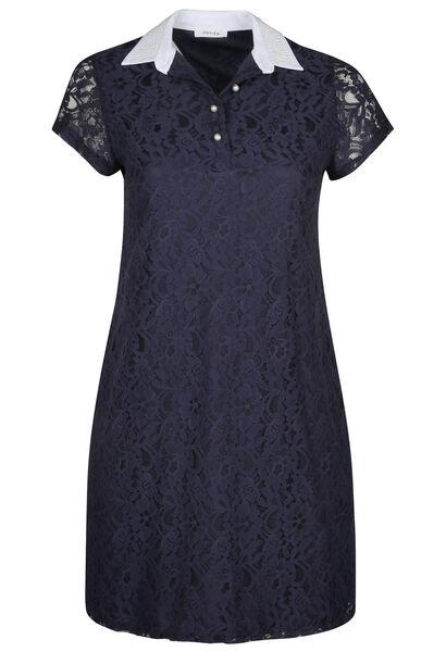 Kanten jurk met hemdskraag en kralen - Marineblauw