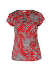 T-shirt in tricot met bladprint, Rood