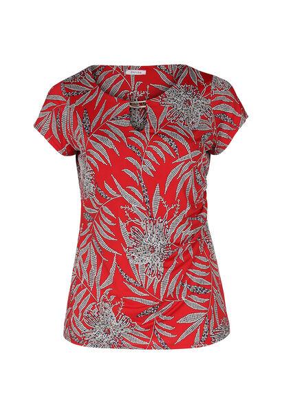 T-shirt in tricot met bladprint - Rood