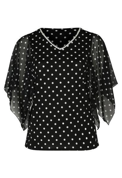 T-shirt met stipjes en een V-hals met kralen - Zwart