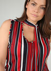 Mouwloze blouse met streepjes, Marineblauw