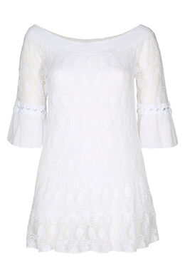 T-shirt-tuniek in geborduurde netstof en crêpe, Wit